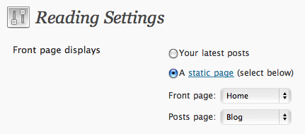 WordPress Settings > Reading > Front Page