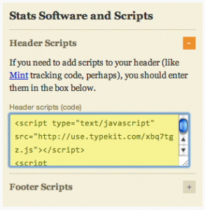 Paste Typekit JavaScript into Thesis